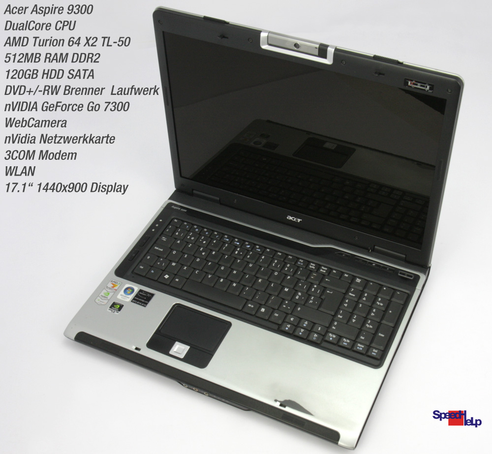 Notebook Acer Aspire 9300 Laptop Nvidia Geforce 7300 17 1
